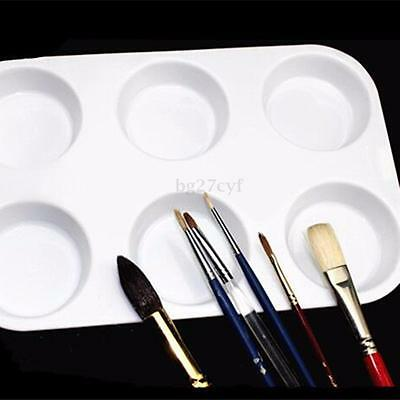 6 Well Kids Artists Plastic Painting Watercolour Paint Palettes Mixing Tray Tool