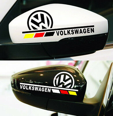Volkswagen VW Graphics Decal Stickers x 2. Wing Mirrors etc. Polo Golf GTI Up!