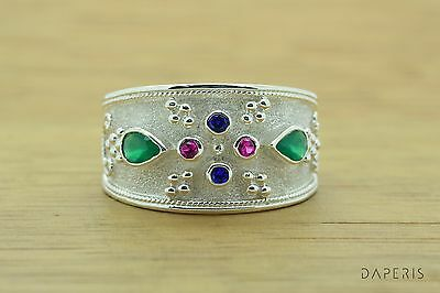 Ruby Sapphire Emerald Medieval Byzantine Band CZ Ring Sterling Silver Greek Art