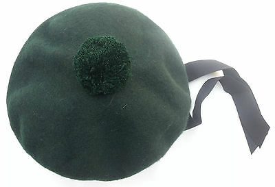 BALMORAL SCOTTISH GREEN ACRYLIC WOOL HAT CAP/Highland Balmoral Cap