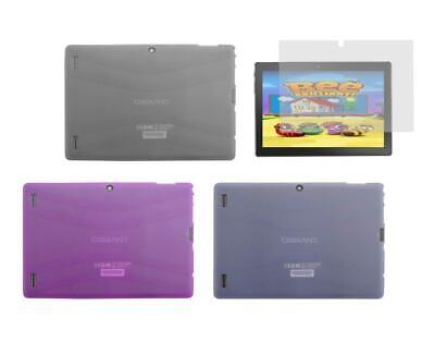 """TPU Gel Skin Cover Case and Screen Protector for DigiLand DL1018A 10.1"""" Tablet"""