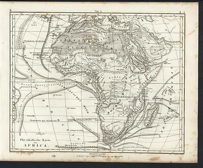 Physical Map of Africa w/ Mts. of Moon 1851 Heck antique detailed engraved map