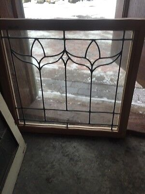 "Sg 493 Antique Leaded Glass Window In New Pine Frame 22"" X 24"""