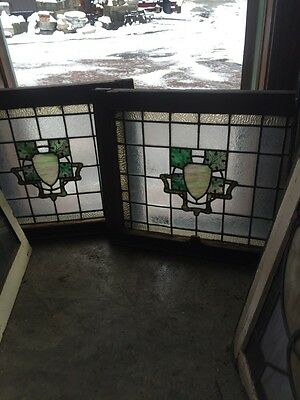 Sg 491 Matched Pair Painted In Fired Textured Glass With Leaves