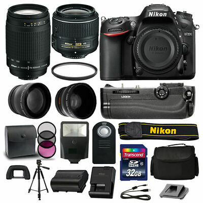 Nikon D7200 DSLR Camera 4 Lens Kit: 18-55mm VR +70-300 +Battery Grip Great Value