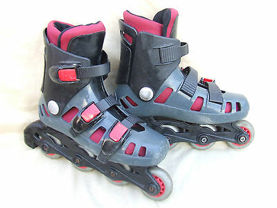 Arg Childs Inline Roller Skates,size J13 Uk,3 Straps,clean Cond,right Foot Stop