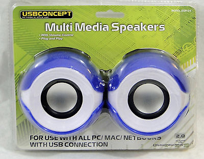 USBConcept Multi Media Stereo Speakers, with built in volume controll, NEW BLUE