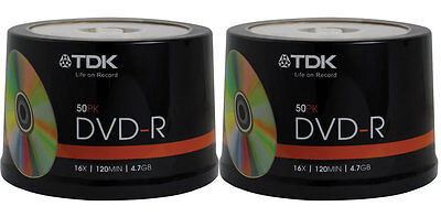 100 pack TDK Gold Series DVD-R 4.7Gb 16X Blank Recordable Discs Spindle
