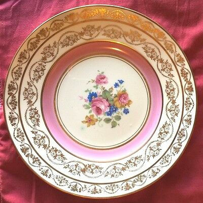 Vintage M & R china luncheon dessert plate PINK Collectible Gold rim Floral