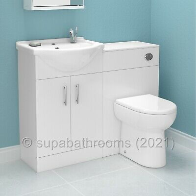 Bathroom Furniture Suite Vanity Unit Cabinet Toilet Basin Back To Wall WC Linton