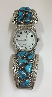Native American Sterling Silver Zuni Turquoise Men's Watch