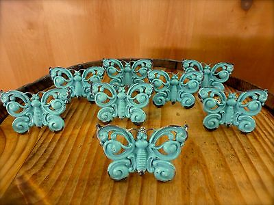 8 BLUE VINTAGE-STYLE FANCY BUTTERFLY DRAWER CABINET PULLS HANDLE KNOBS hardware