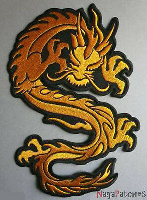 embroidered badge dorsal fusible patch dragon golden big / patch 340