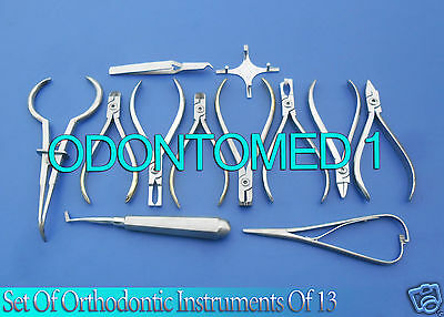 Set of Orthodontic Instruments Of 13 Pieces Stainless With Boone Gauge DN-488