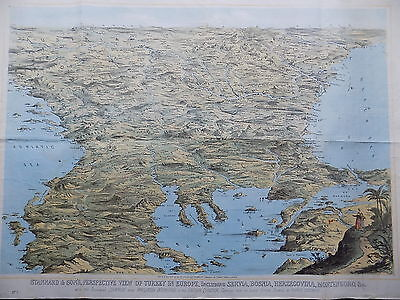 1876 Perspective View Turkey Balkans Stannard Concanen Old Antique Map Print