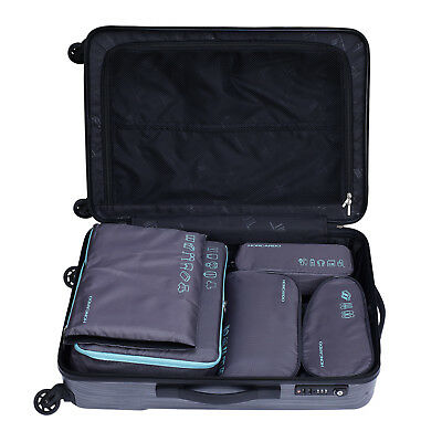 5 Pcs Travel Luggage Organizer Set Waterproof  Packing Cube Pouch Storage Bags