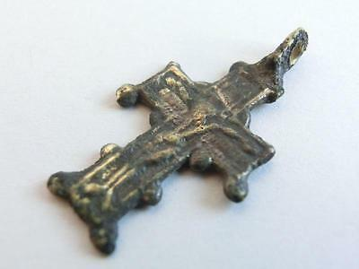 Post Medieval Byzantine Bronze Cross ~ Crucifix Jesus Christ 17th - 18th C. AD