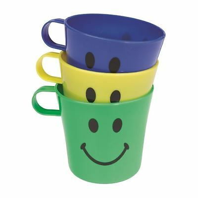 3 x Childrens Plastic Drinks Cups Mugs Party Picnic Smiley face