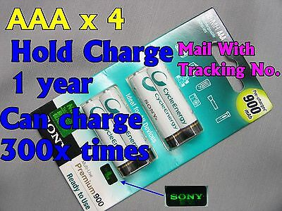 4 SONY Rechargeable CycleEnergy AAA 1.2V 900 mAh NI-MH NIMH Battery W/TrackingNo
