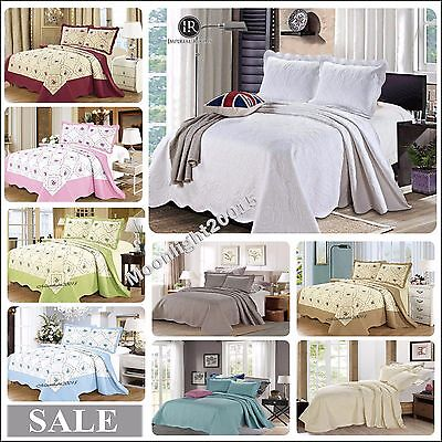 Cotton Bedspread 3 Piece Embroidered Quilted Bedspread Bedding + 2 Pillow shams