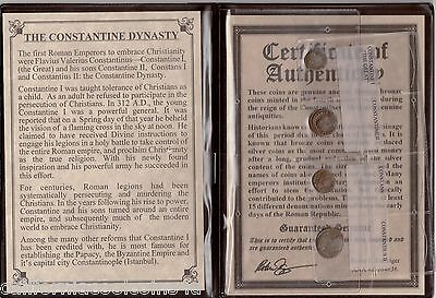 THE CONSTANTINE DYNASTY Ancient 4 Coin Set - The 1st Christian Emperors w/ COA