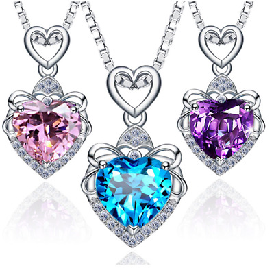 """Sterling Silver Crystal Heart Love Amethyst Topaz Pendant Necklace 18"""" Chain Box"""