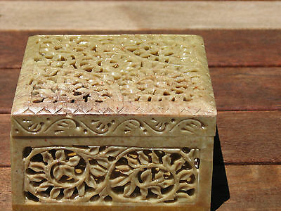 Large Hand Carved Soapstone Square  Box 937grams
