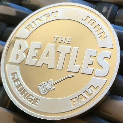 The Beatles Band Medallion Finished In Silver .999 1oz Weight Coin Gift Capsule