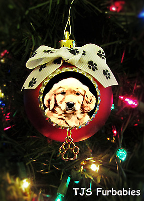 Golden Retriever Puppy Painted Christmas Ornament Pet Lover Gift  TJS Furbabies