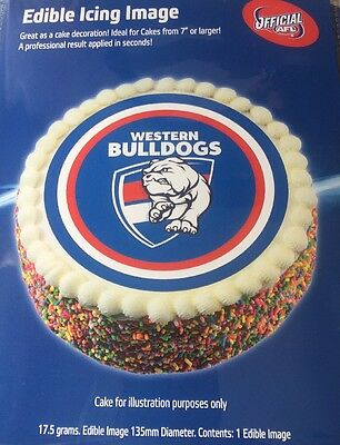 Western Bulldogs AFL Team Edible Icing Cake Topper Birthday Party Decoration