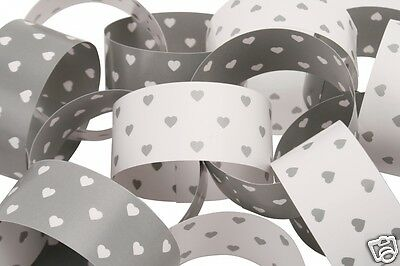 Paper Chain Garland Silver & White Hearts Wedding Engagement  10m (200 links)