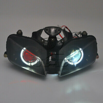 New Headlight Assembly Red Demon Angel Eye Projector for Honda CBR600 2003-2006