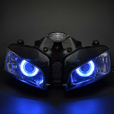 Headlight Assembly Blue Angel Eye Halo Ring Projector For Honda CBR600 2003-2006