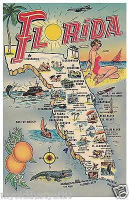 Florida Kitsch Map  8 x 12  poster