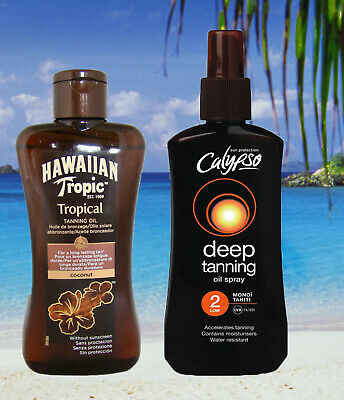 Hawaiian Tropic Zero Factor & Tahitian Bronzing Oil Spf 2 Tan Oil Tan Lotion