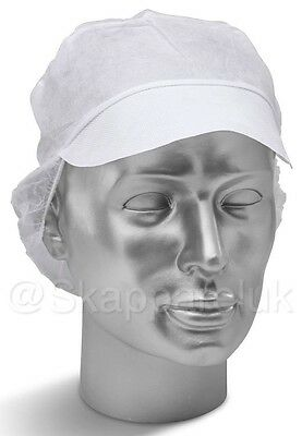 BUY 3 X White Catering Hat Chef Bakers Bouffant Food Hygiene Catering Snood Cap