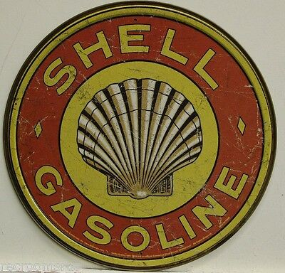 "SHELL GASOLINE logo 12"" metal sign shell gas and oil vintage weathered look 1964"