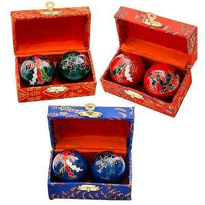 2 Sets Dragon Chinese Baoding Chimes Health Stress Relief Therapy Balls #aa91