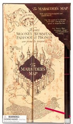 Harry Potter Marauders Map w/ Wand Appearing Footprints & Sound Effects NEW