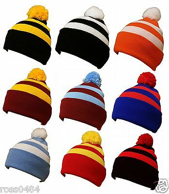 Football Hat Selection Stripe Bobble Pompom Warm Winter Rugby Christmas Birthday