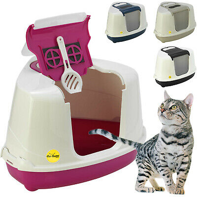 Corner Cat Flip Litter Tray 6 Colours Box Hooded Pan Toilet Loo Filter Scoop
