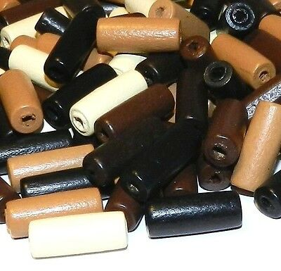 WL255f Multi-Color Brown Assortment 20x8mm Round Tube Painted Wood Beads 180/pkg