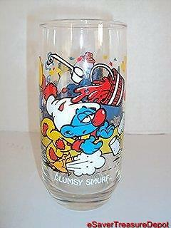 """1983 Hardee's SMURFS """"SMURFDAY PARTY"""" Promotional Glasses - CLUMPSY SMURF"""