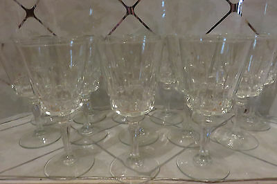 """Vintage Beautiful Set Of 14 Crystal 7"""" Wine Glasses Excellent Condition"""