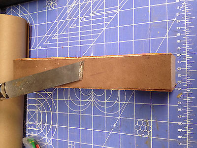 "wood ""BLOCKY"" Leather Bench top Strop 8"" flesh and skin sides"
