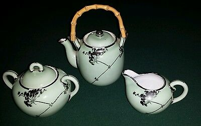 Vintage Hand painted Bamboo Handled Jade Teapot,sugar and creamer Made in Japan