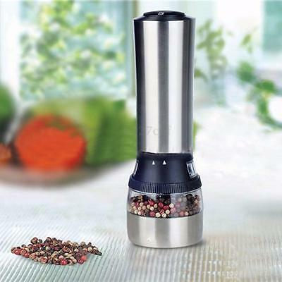 2 in 1 Stainless Steel Electric Spice Salt & Pepper Mill Grinder Kitchen Tool