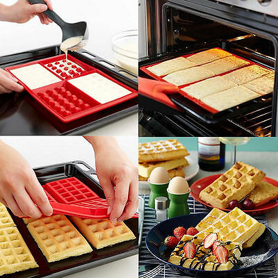 Safety 4-Cavity Waffles Cake Chocolate Pan Silicone Mold Baking Mould Kitchen