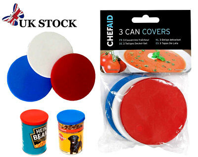 Tin Lids Plastic Can Covers x3  For Standard Tins Baked Beans Dog Food Cat Food