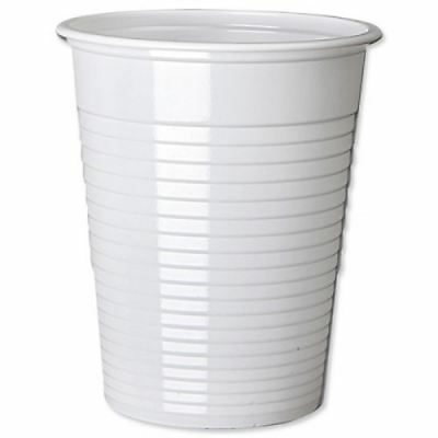 Disposable Plastic Cups White Drink Party Office Catering Buffet Outdoor Indoor
